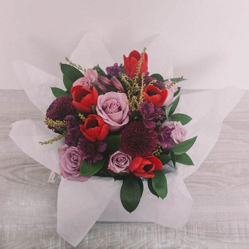 Bright bouquet in box by Flower Gallery on Waiheke Island