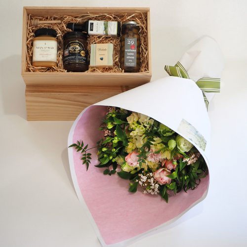 Gift-hamper-with-flowers by Flower Gallery on Waiheke Island