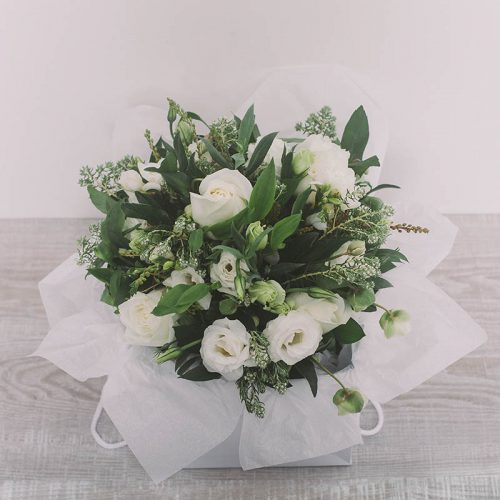 White and green bouquet in a box by Flower Gallery on Waiheke Island
