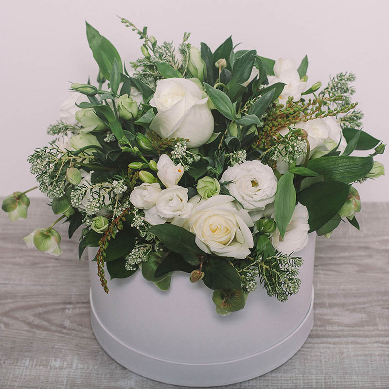 White and green bouquet hat box flower gallery white and green bouquet by flower gallery on waiheke island mightylinksfo